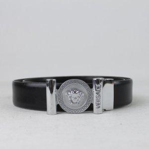 Versace Cintura di pelle nero-argento Pelle