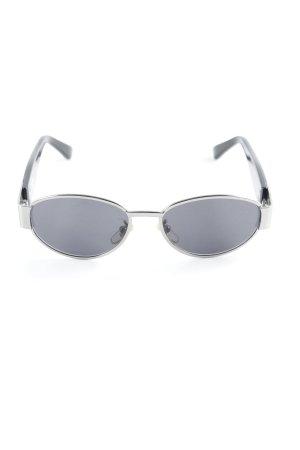 Versace ovale Sonnenbrille schwarz-silberfarben Street-Fashion-Look