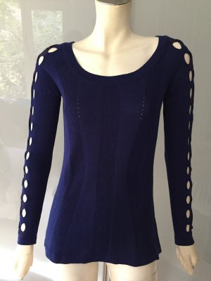 Versace Pullover Blau 36-38 Shirt Wolle Cut-Out Sweater TOP Wool Blue S-M NEU