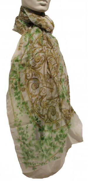 Versace Seidenschal, grün/weiß/braun, 100% Seide