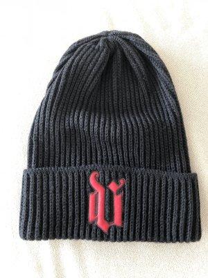Gianni Versace Chapeau en tricot noir-rouge