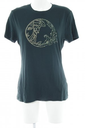 Versace T-shirt oro-verde bosco Stampa a tema stile casual