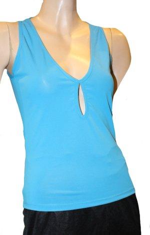 Versace Débardeur à bretelles turquoise polyester