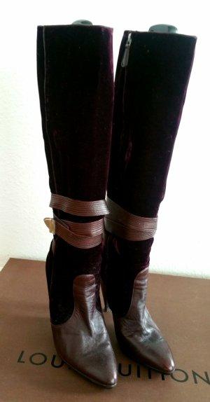versace  velvet boots Stiefel aus samt und Leder