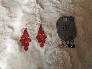 H&M Pendant d'oreille argenté-rouge foncé