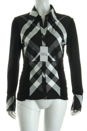 Verse Langarm-Bluse schwarz-weiß Karomuster klassischer Stil
