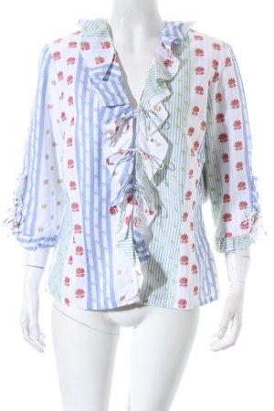 Verse Rüschen-Bluse florales Muster Romantik-Look