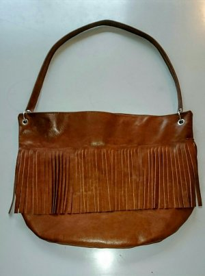 Fringed Bag cognac-coloured leather