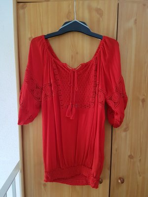 verspielte rote Bluse mit Spitze # reine Viskose # neu # Grösse : L /XL