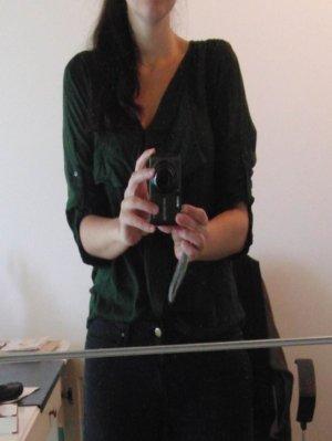 Vero Moda V-Neck Shirt dark green viscose