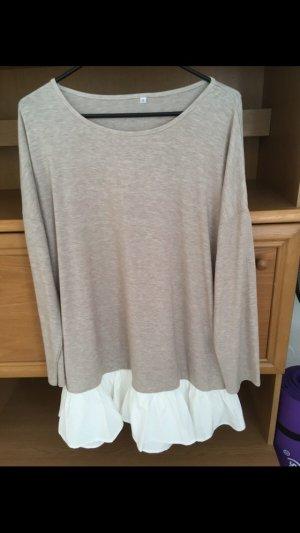 T-shirt jurk wit-beige