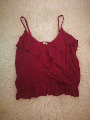 Hollister Top con balze rosso scuro-bordeaux
