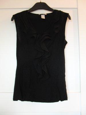 Verspieltes Top von H&M mit Rüschen, schwarz, Gr. XS