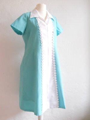 Verspieltes Vintage Kleid in mintgrün-türkis Gr. 46