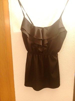 Verstellbare Rüsschen Bluse schwarz