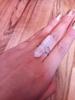 Statement Ring silver-colored-light pink