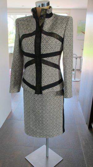Versus by Versace Kostüm, ital. Gr. 42 = dt. Gr. 36/38 Wolle/Leder