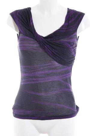 VERSUS Versace schulterfreies Top schwarz-lila abstraktes Muster Casual-Look