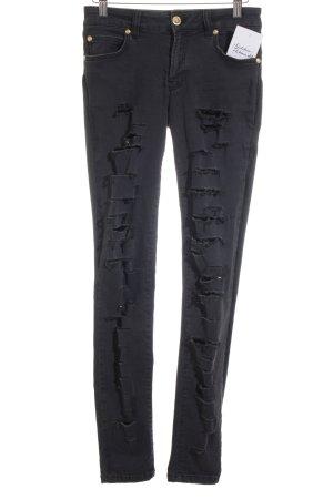 VERSUS Versace Skinny Jeans schwarz Destroy-Optik