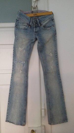 verwaschene Bootcut Jeans