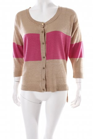 Very Honey Strickjacke hellbraun-pink Streifenmuster Glitzer-Optik
