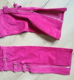Apart Impressions Pantalón de cuero rosa Cuero