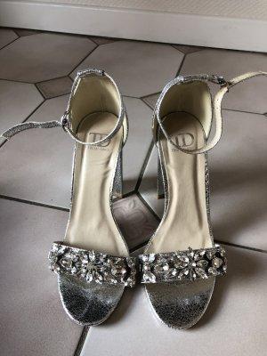 Verzierte Sandalen mit Blockabsatz in Silber mit Glitzer