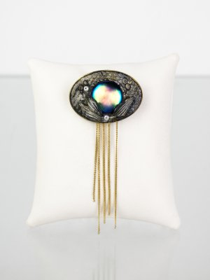 Brooch multicolored synthetic material