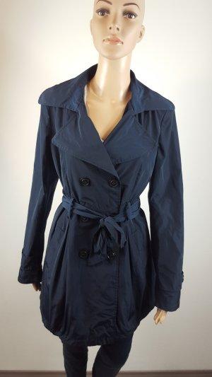 Vestino Damen Trenchcoat Mantel marineblau Größe 38 mit Gürtel