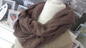 Vestino Fringed Scarf brown-gold-colored