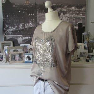 Vestino * Edles Materialmix Shirt * caramell braun Pailletten-Stern * 44