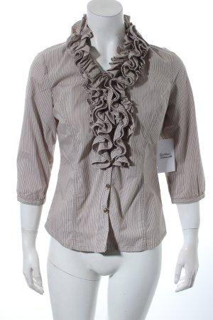 Vestino Rüschen-Bluse beige-weiß Streifenmuster Romantik-Look