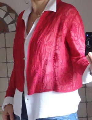 Vetono Bluse, Westchen, bestickt, wunderschönes Modell, rot, feine Baumwolle, italienische Boutique, NEU, Gr. 38/40