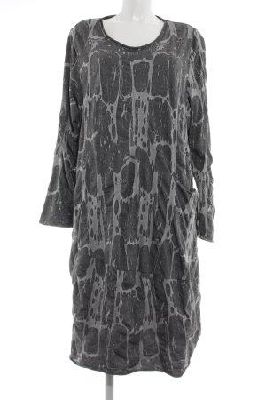 Vetono Stretch jurk lichtgrijs abstract patroon zakelijke stijl