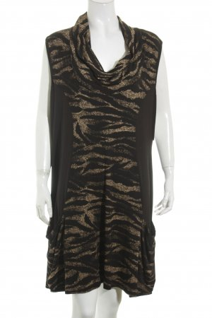 Via appia due Kleid schwarz-bronzefarben Animalmuster Animal-Look