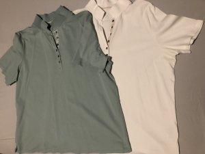 Via appia due Camiseta tipo polo blanco-turquesa