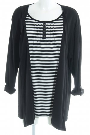 Via appia due Slip-over Blouse black-white striped pattern casual look