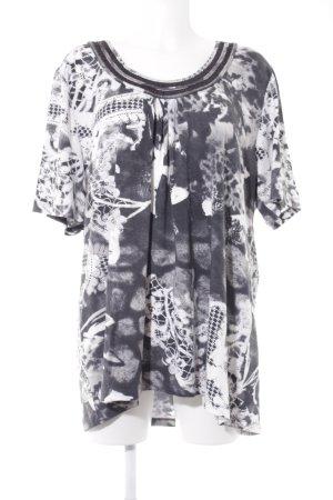 Via appia due Camisa tipo túnica gris antracita-blanco estampado abstracto