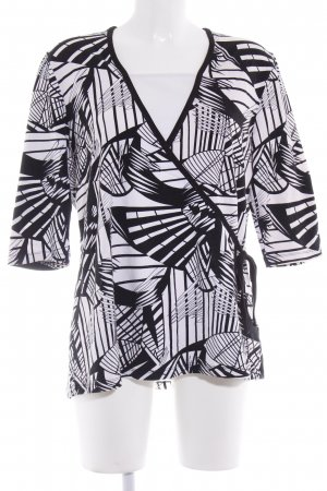 Via Appia Langarm-Bluse schwarz-weiß abstraktes Muster Casual-Look