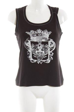 Via Appia Tanktop schwarz-weiß Motivdruck Casual-Look