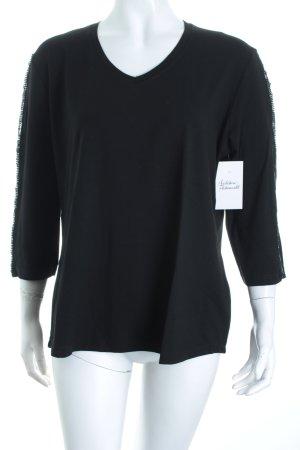 Via Appia V-Ausschnitt-Shirt schwarz Glitzer-Optik