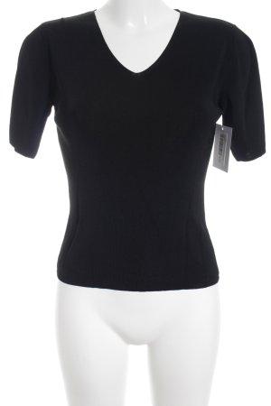 Via Appia V-Ausschnitt-Shirt schwarz schlichter Stil