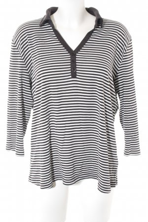Via Appia V-Ausschnitt-Shirt schwarz-weiß Streifenmuster Casual-Look