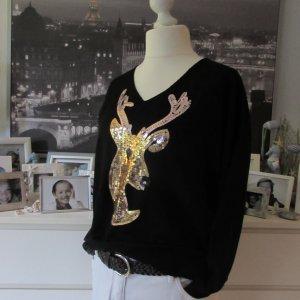 Via Code * Edler X-Mas Winter V-Pullover * schwarz gold Pailletten-Hirsch * S/M 40/42