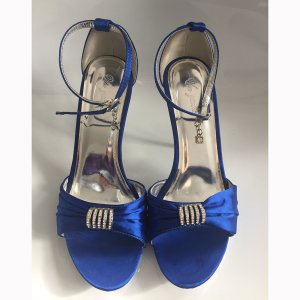 High Heel Sandal blue-silver-colored synthetic material