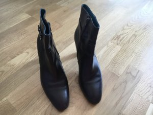 Ankle Boots black-silver-colored leather