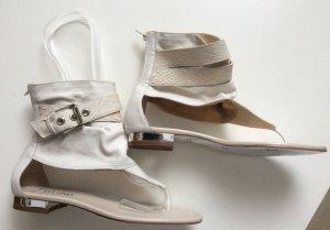 VIA UNO Designer Zehensandalen Cremeweiss echt Leder Gr 37 Neu Einzelstücke Messemodelle