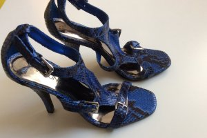 VIA UNO High Heel Sandalen Blau Schwarz Animalprint Leder Gr 37 NEU Snake