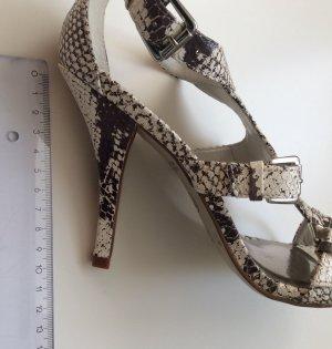 VIA UNO High Heel Sandalen Nude Animalprint Leder Gr 37 NEU Schlangenmuster