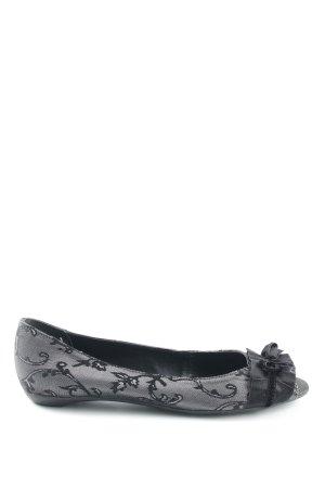 Via uno Peep Toe ballerina's zwart-zilver extravagante stijl